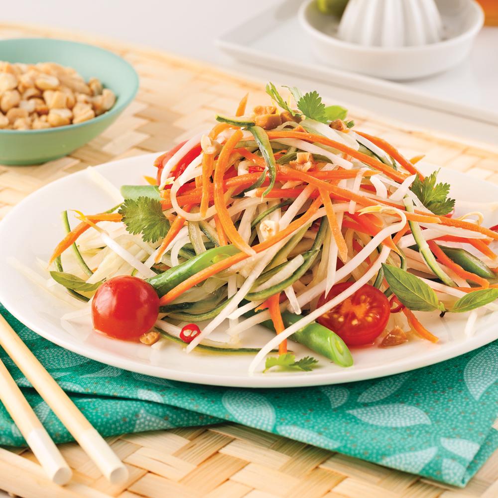 Salade de papaye verte aux légumes du potager avec vinaigrette de papaye : une recette idéale pour ceux qui veulent entretenir leur forme